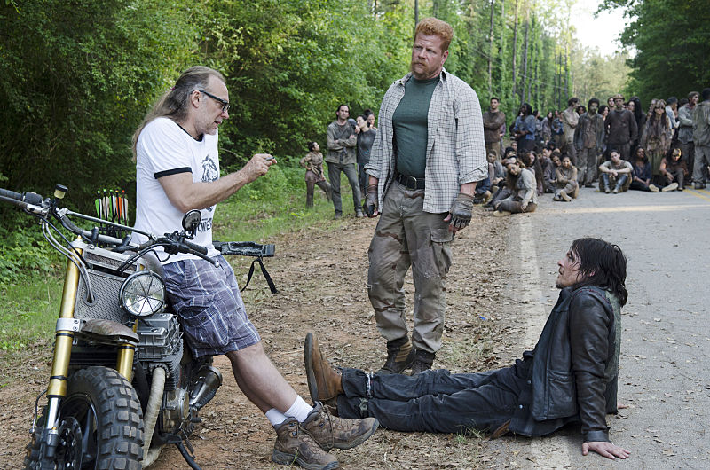 Greg Nicotero, Michael Cudlitz and Norman Reedus - The Walking Dead _ Season 6, Episode 1 _ BTS - Photo Credit: Gene Page/AMC